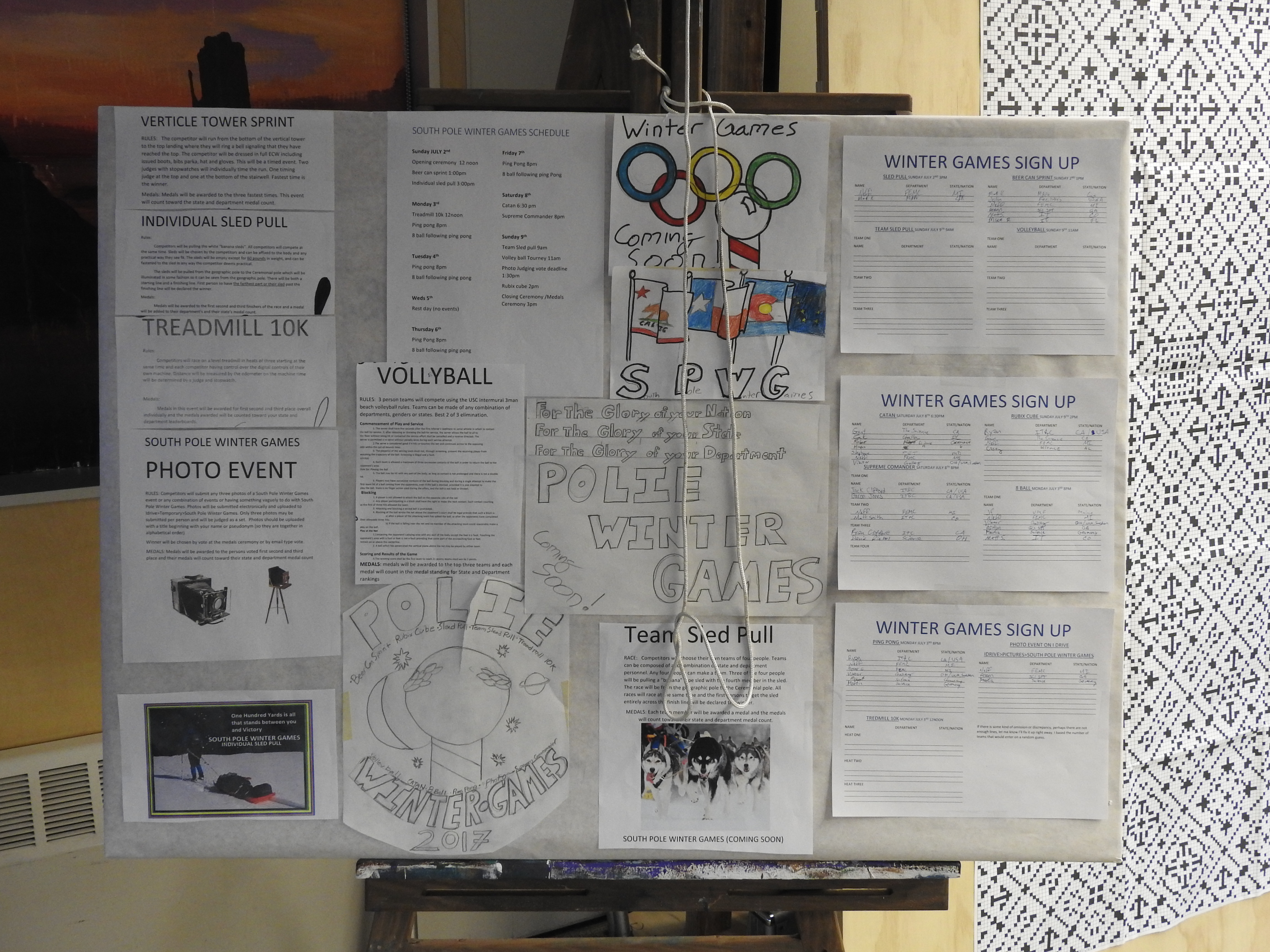 The South Pole Winter Games - announcement board (Photo: James Casey)