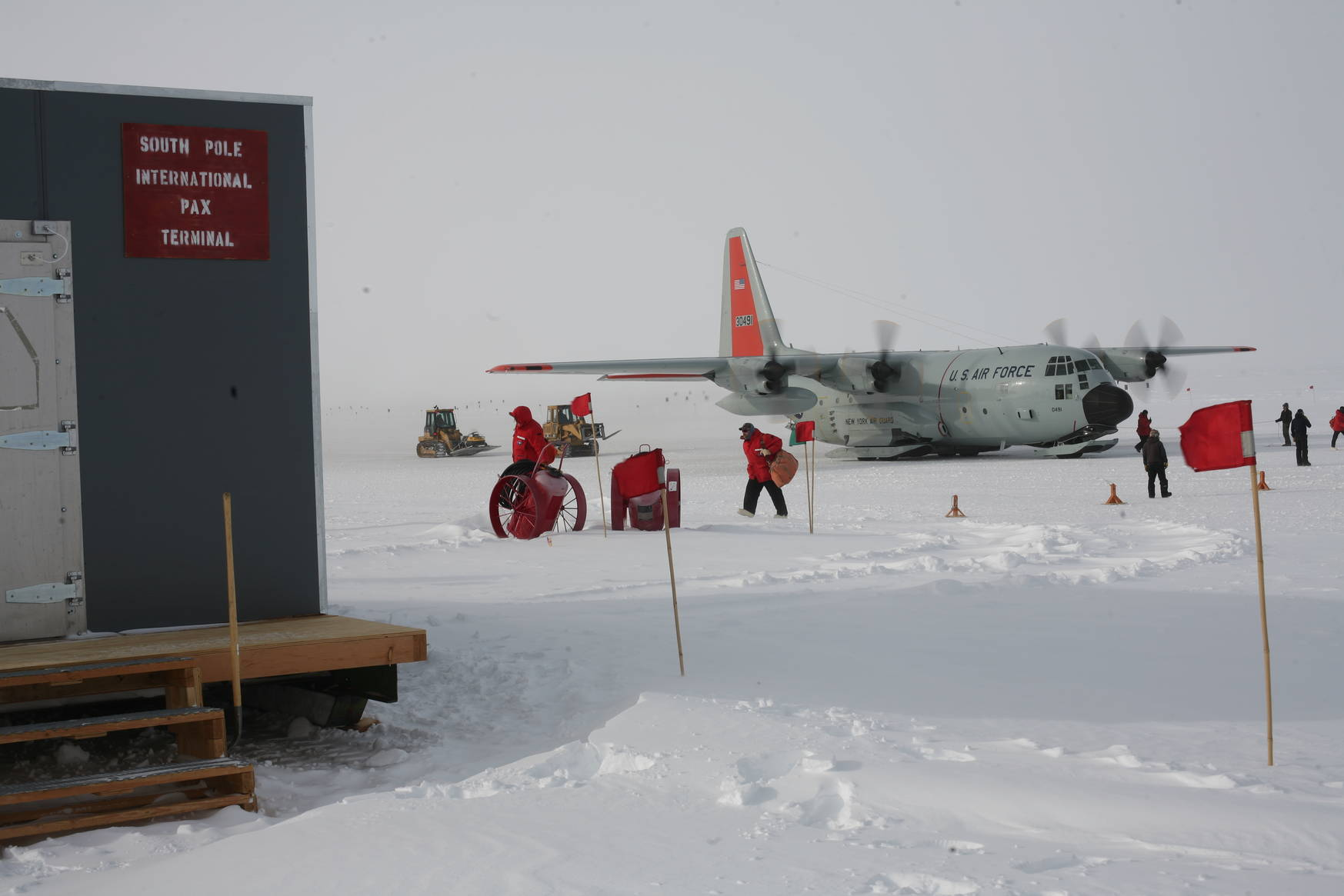 Arrival at the South Pole Passenger terminal. Psssst, secret: It's really just a small metal shack.