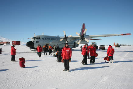 First steps on the Antarctic ice.