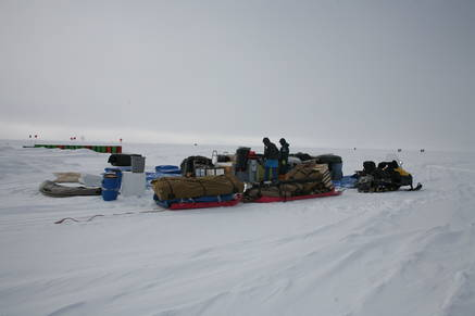 During the winter the camping equipment remains at the south pole.